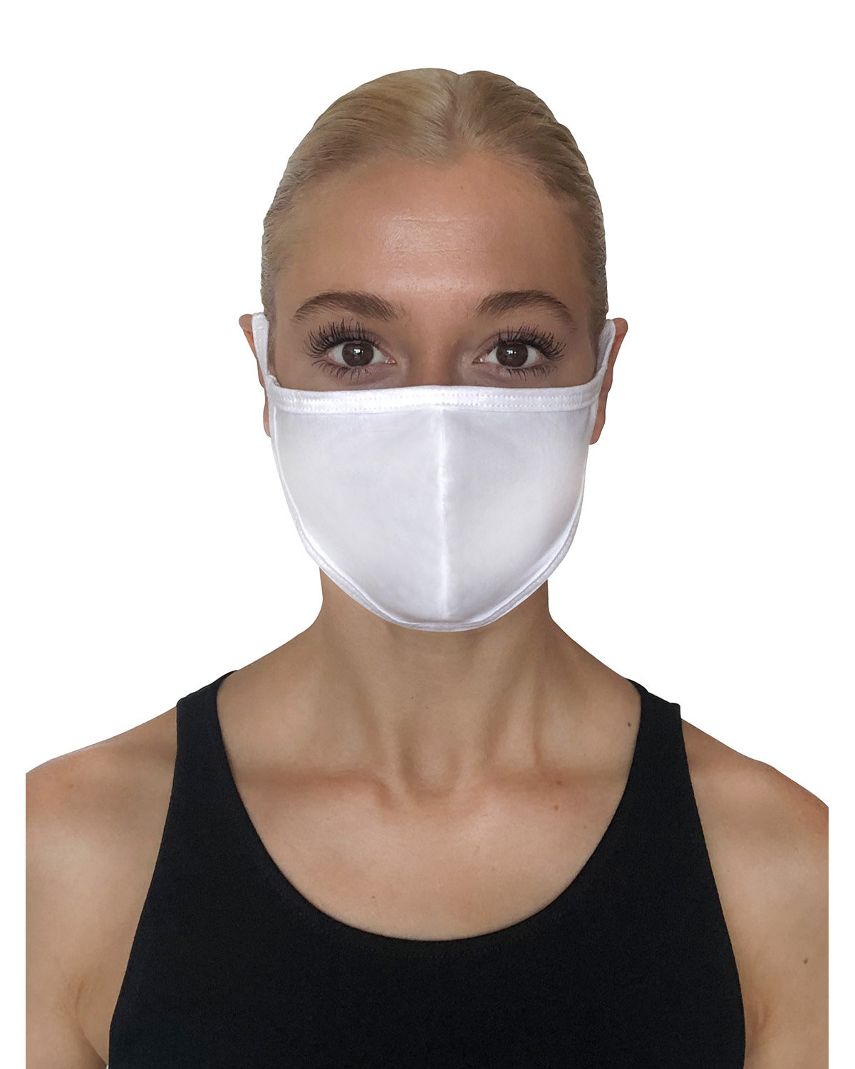 StarTee Drop Ship Unisex Premium Fitted Face Mask WHITE