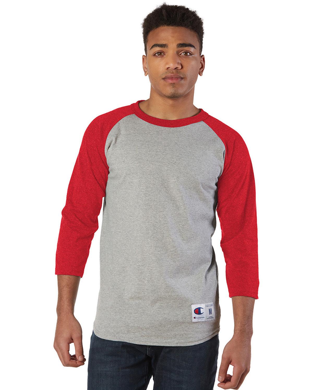 Champion Adult Raglan T-Shirt OXF GRY/ SCARLET