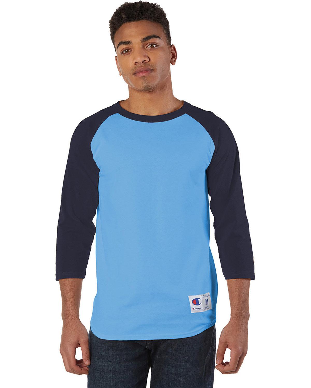 Champion Adult Raglan T-Shirt LIGHT BLUE/ NAVY