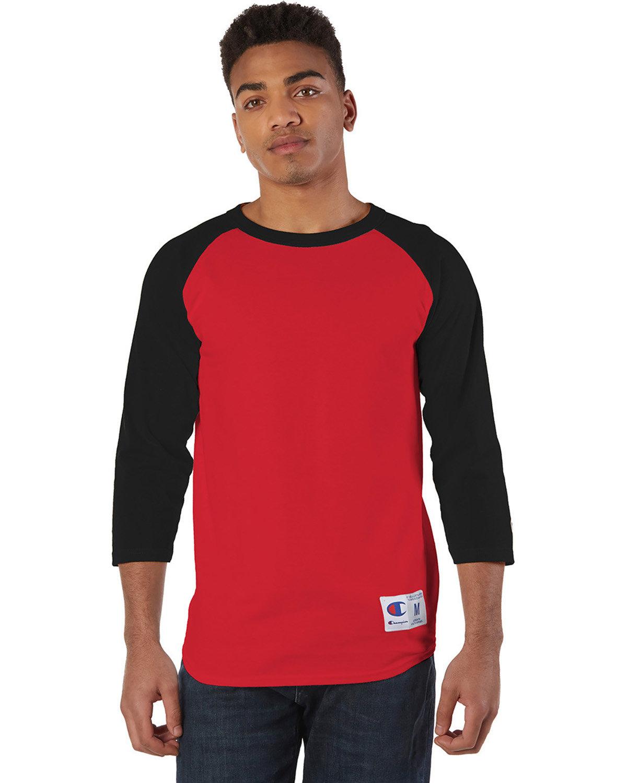 Champion Adult Raglan T-Shirt SCARLET/ BLACK