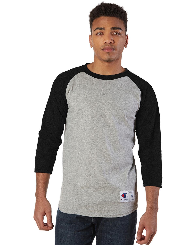 Champion Adult Raglan T-Shirt OXFORD GRY/ BLK