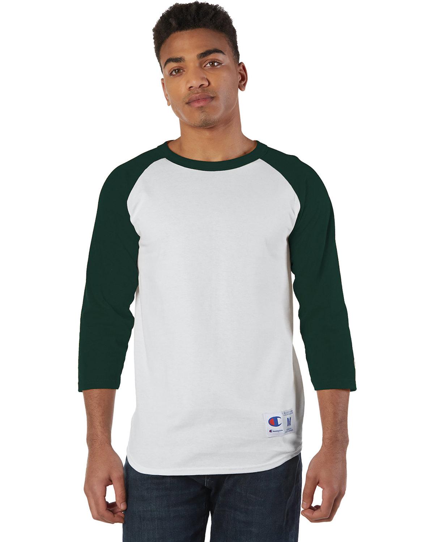 Champion Adult Raglan T-Shirt WHITE/ DRK GREEN
