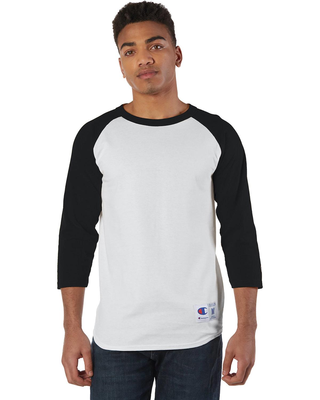 Champion Adult Raglan T-Shirt WHITE/ BLACK