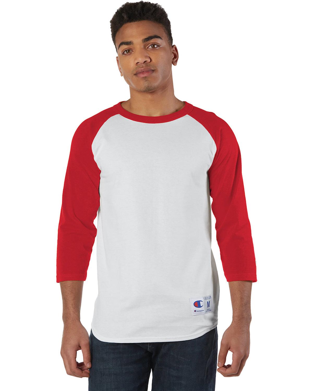 Champion Adult Raglan T-Shirt WHITE/ SCARLET