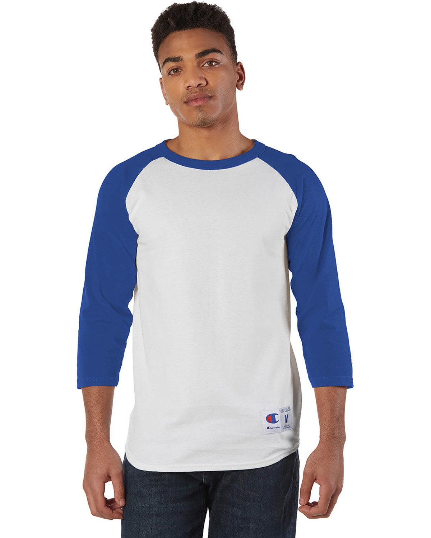 Champion Adult Raglan T-Shirt WHITE/ TEAM BLUE