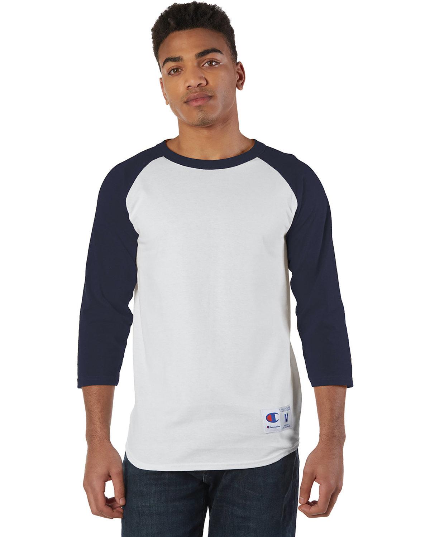 Champion Adult Raglan T-Shirt WHITE/ NAVY