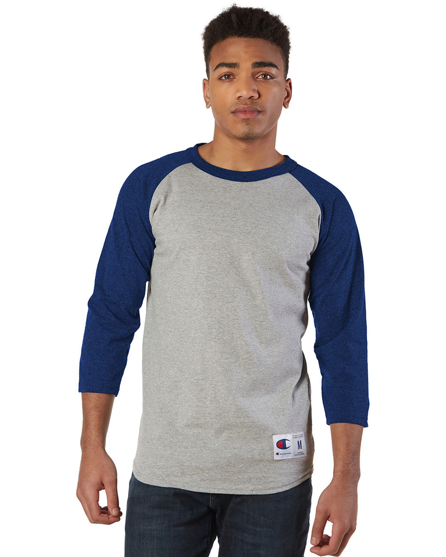 Champion Adult Raglan T-Shirt OXF GRY/ TM BLUE