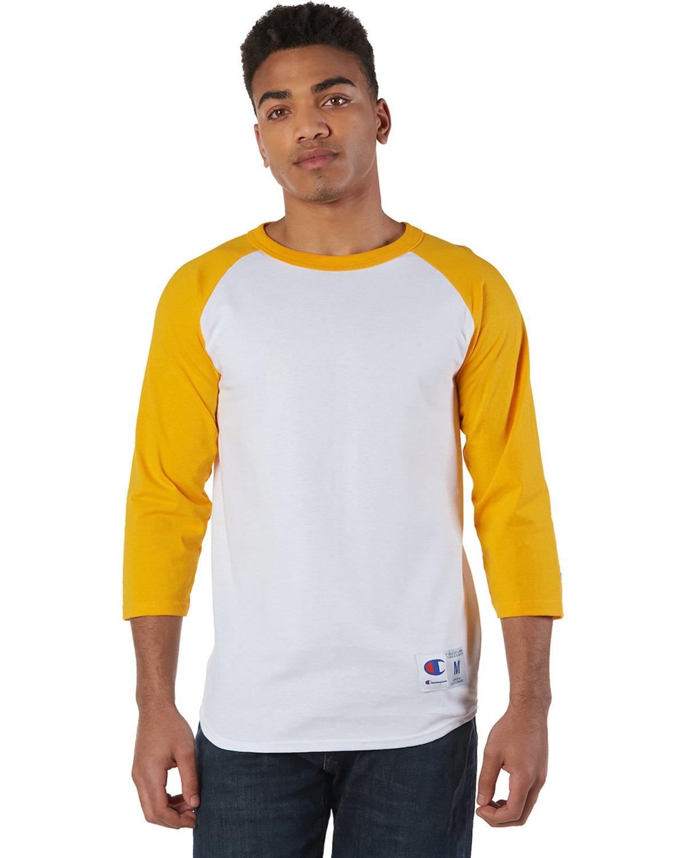 Champion Adult Raglan T-Shirt WHITE/ C GOLD