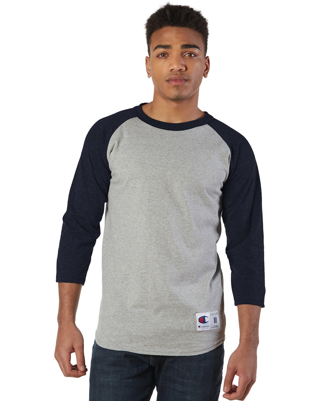 Champion Adult Raglan T-Shirt OXFRD GREY/ NAVY