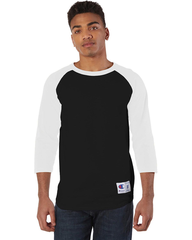 Champion Adult Raglan T-Shirt BLACK/ WHITE