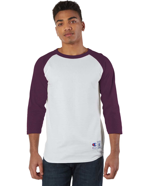 Champion Adult Raglan T-Shirt WHITE/ MAROON