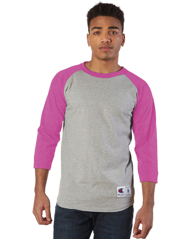 Champion Adult Raglan T-Shirt OXF GRY/ CHR PNK