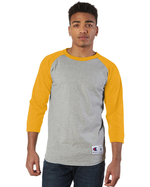 Champion Adult Raglan T-Shirt OXFRD GRY/ C GLD