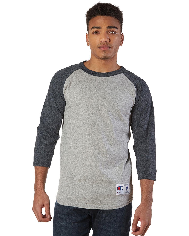 Champion Adult Raglan T-Shirt OXF GRY/ CHRL HT