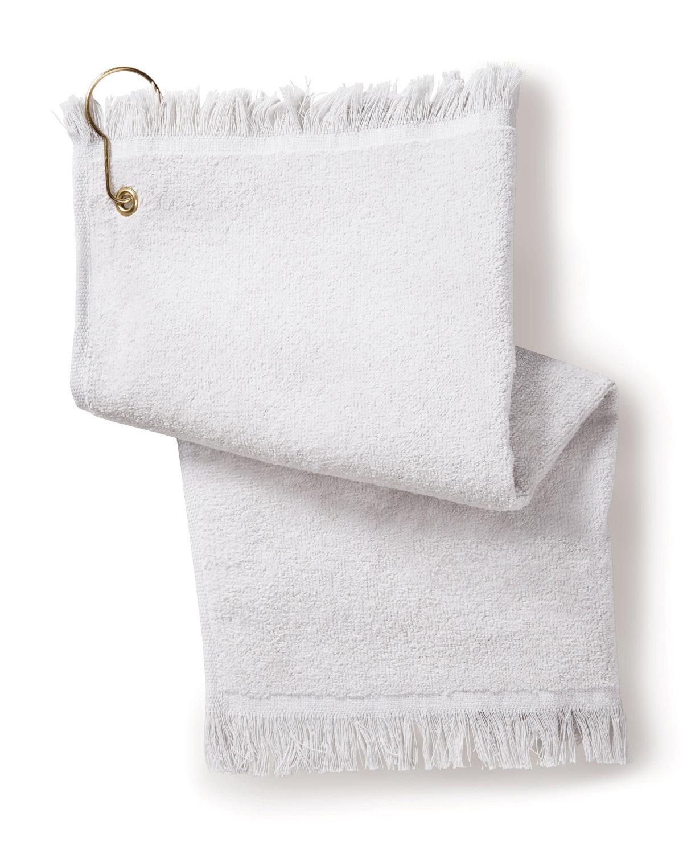 Towels Plus FringedFingertip Towel with Corner Grommet and Hook WHITE