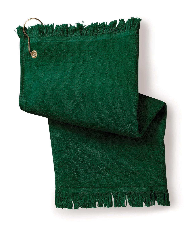 Towels Plus FringedFingertip Towel with Corner Grommet and Hook HUNTER