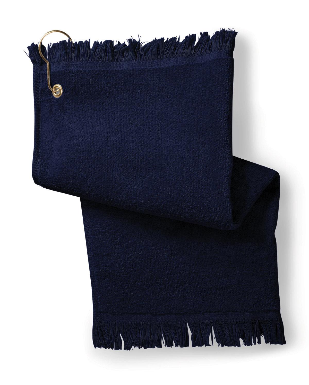 Towels Plus FringedFingertip Towel with Corner Grommet and Hook NAVY