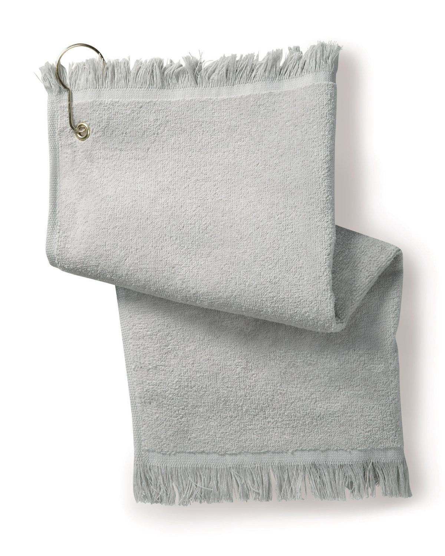 Towels Plus FringedFingertip Towel with Corner Grommet and Hook SILVER