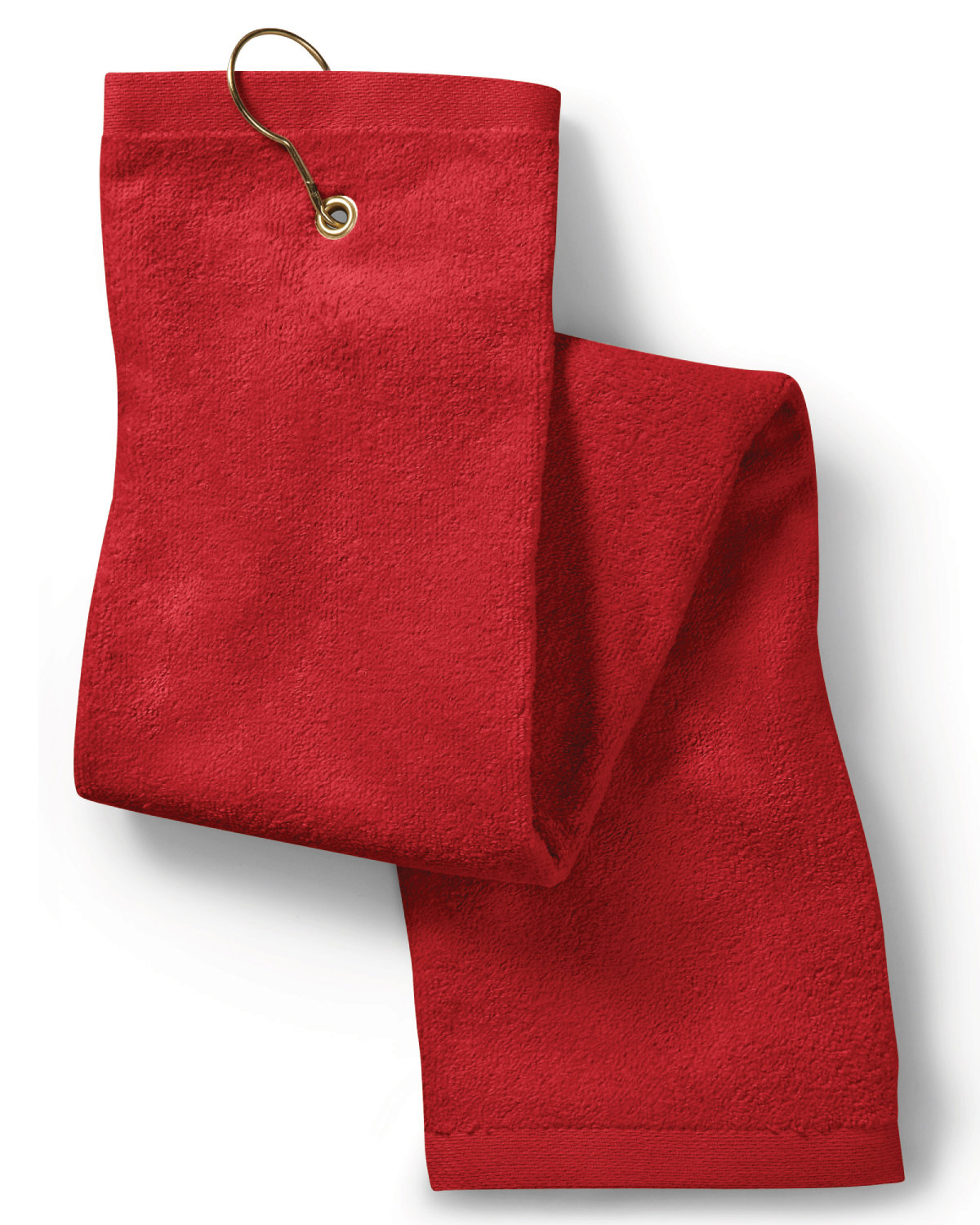 Towels Plus Deluxe Tri-Fold Hemmed Hand Towel with CenterGrommet and Hook RED