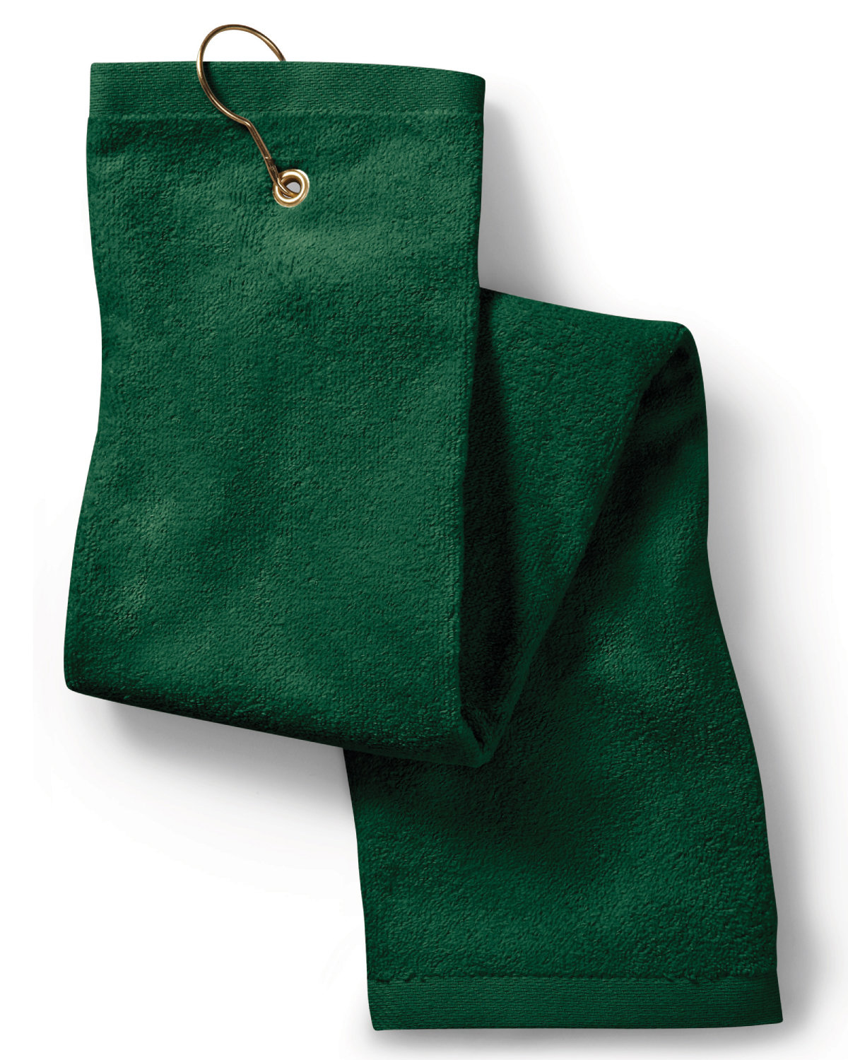 Towels Plus Deluxe Tri-Fold Hemmed Hand Towel with CenterGrommet and Hook HUNTER