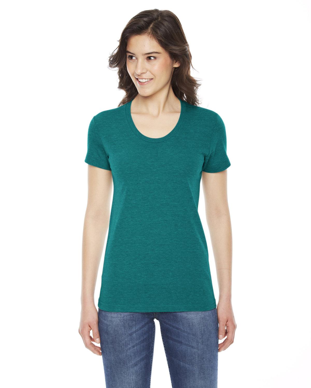 American Apparel Ladies' Triblend Short-Sleeve Track T-Shirt TRI EVERGREEN