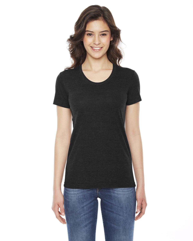 American Apparel Ladies' Triblend Short-Sleeve Track T-Shirt TRI BLACK