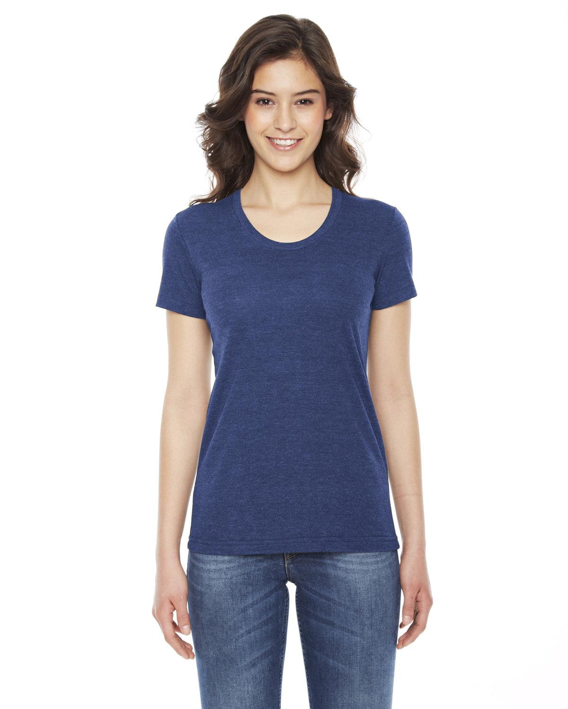 American Apparel Ladies' Triblend Short-Sleeve Track T-Shirt TRI INDIGO