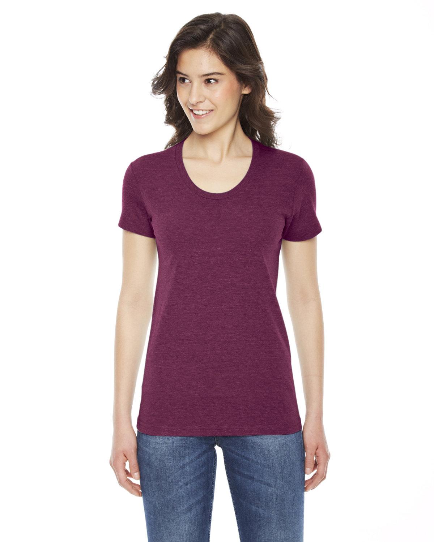American Apparel Ladies' Triblend Short-Sleeve Track T-Shirt TRI CRANBERRY