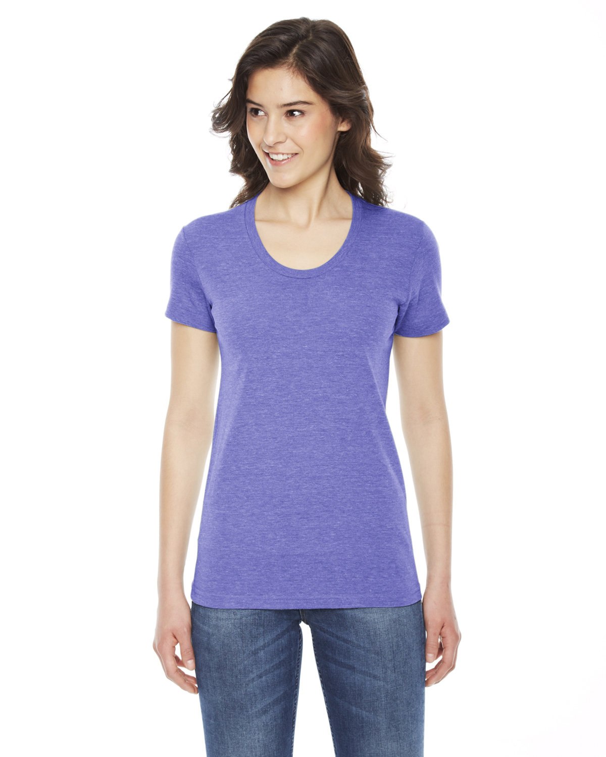 American Apparel Ladies' Triblend Short-Sleeve Track T-Shirt TRI ORCHID