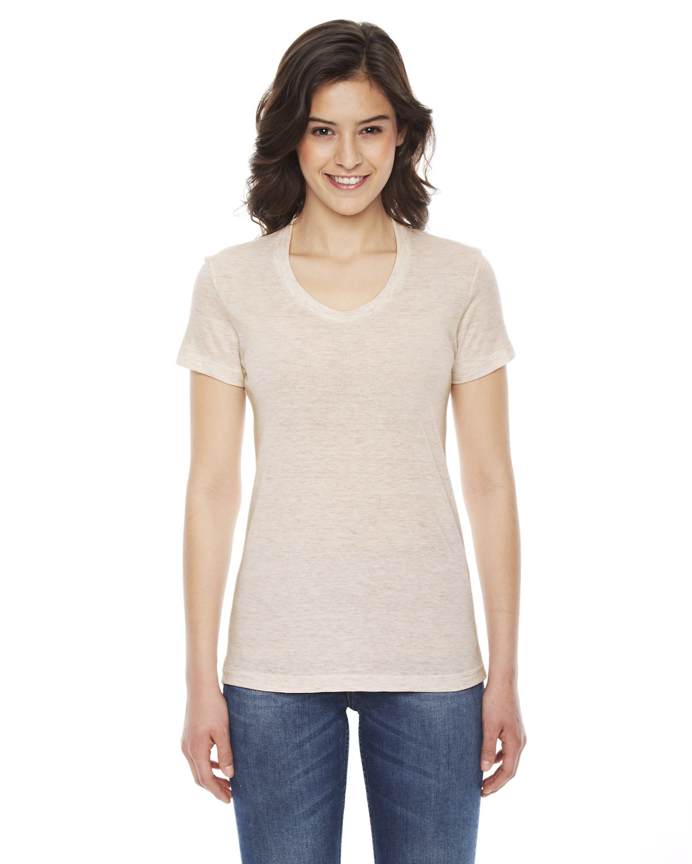 American Apparel Ladies' Triblend Short-Sleeve Track T-Shirt TRI OATMEAL