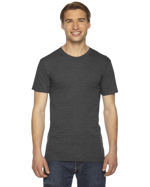 American Apparel Unisex Triblend USA Made Short-Sleeve Track T-Shirt TRI BLACK