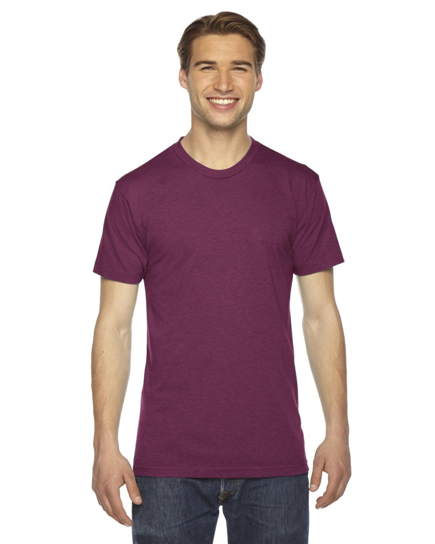 American Apparel Unisex Triblend USA Made Short-Sleeve Track T-Shirt TRI CRANBERRY