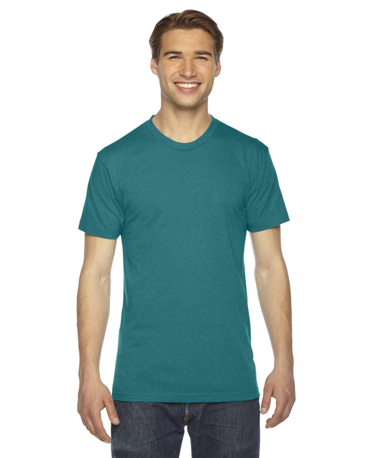 American Apparel Unisex Triblend Short-Sleeve Track T-Shirt TRI EVERGREEN