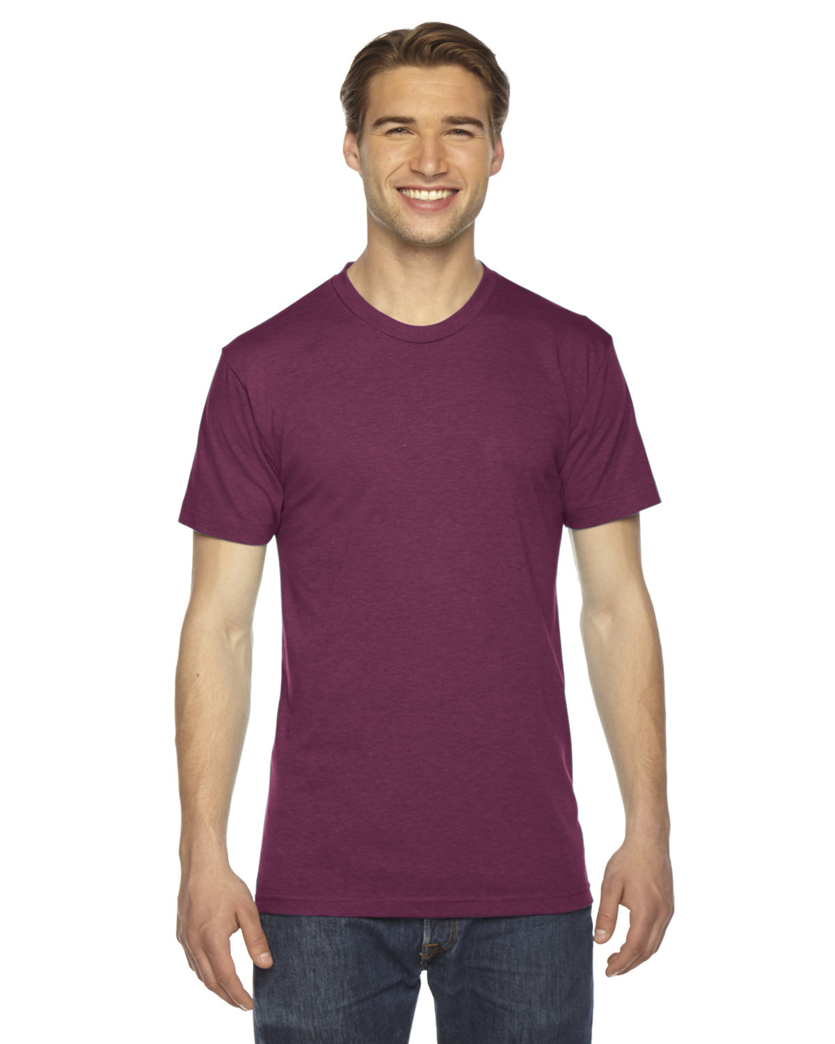 American Apparel Unisex Triblend Short-Sleeve Track T-Shirt TRI CRANBERRY