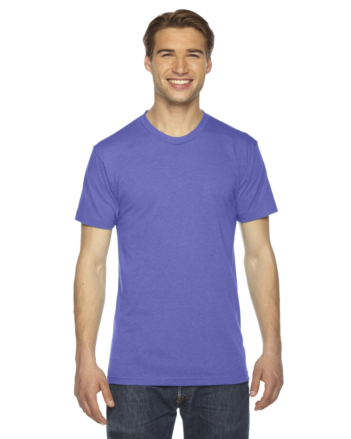 American Apparel Unisex Triblend Short-Sleeve Track T-Shirt TRI ORCHID
