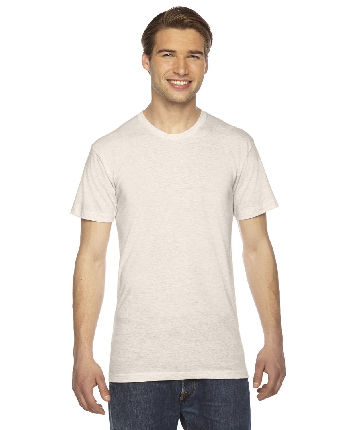 American Apparel Unisex Triblend Short-Sleeve Track T-Shirt TRI OATMEAL
