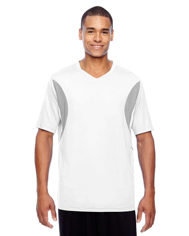 Team 365 Men's Short-Sleeve Athletic V-Neck Tournament Jersey WHITE/ SP SILVER