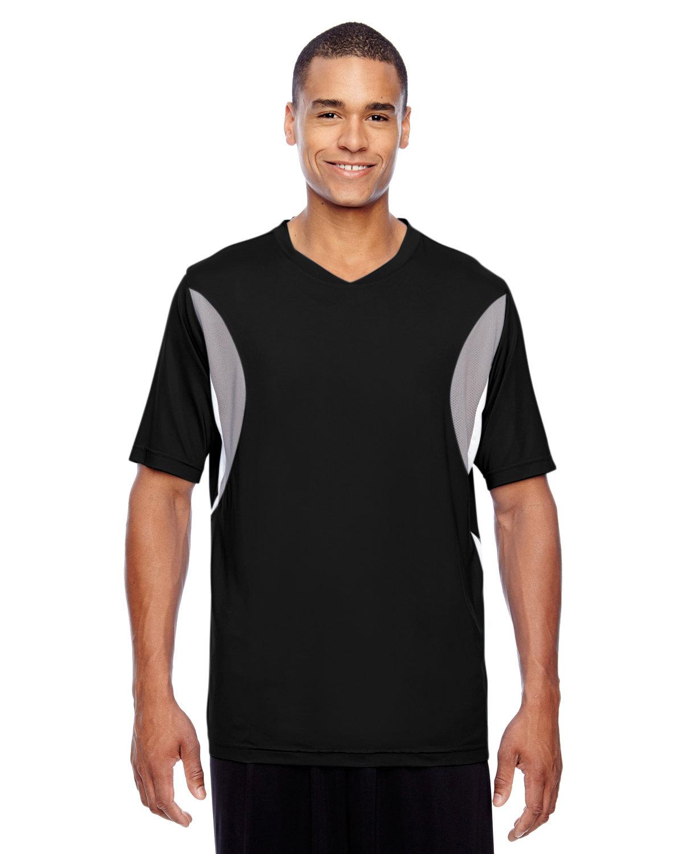 Team 365 Men's Short-Sleeve Athletic V-Neck Tournament Jersey BLACK/ SP SILVER