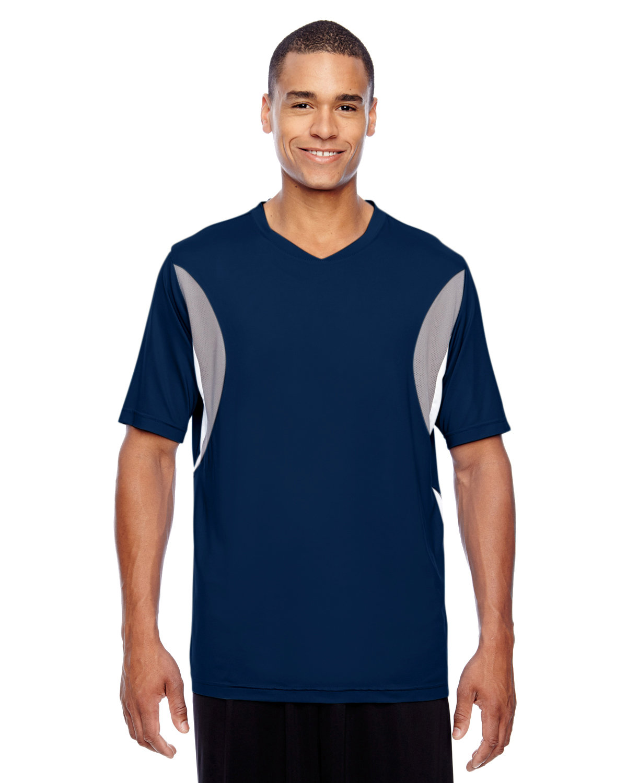 Team 365 Men's Short-Sleeve Athletic V-Neck Tournament Jersey SP DK NV/ SP SIL