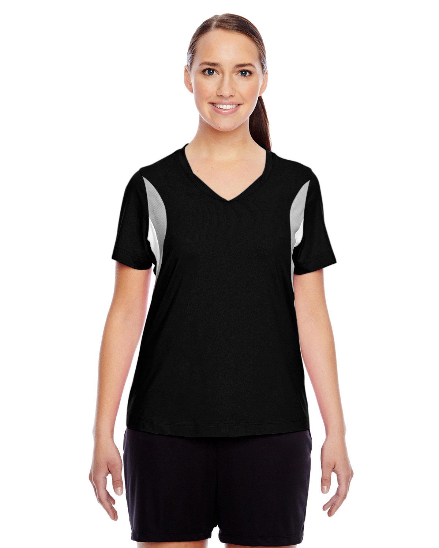 Team 365 Ladies' Short-Sleeve Athletic V-Neck Tournament Jersey BLACK/ SP SILVER