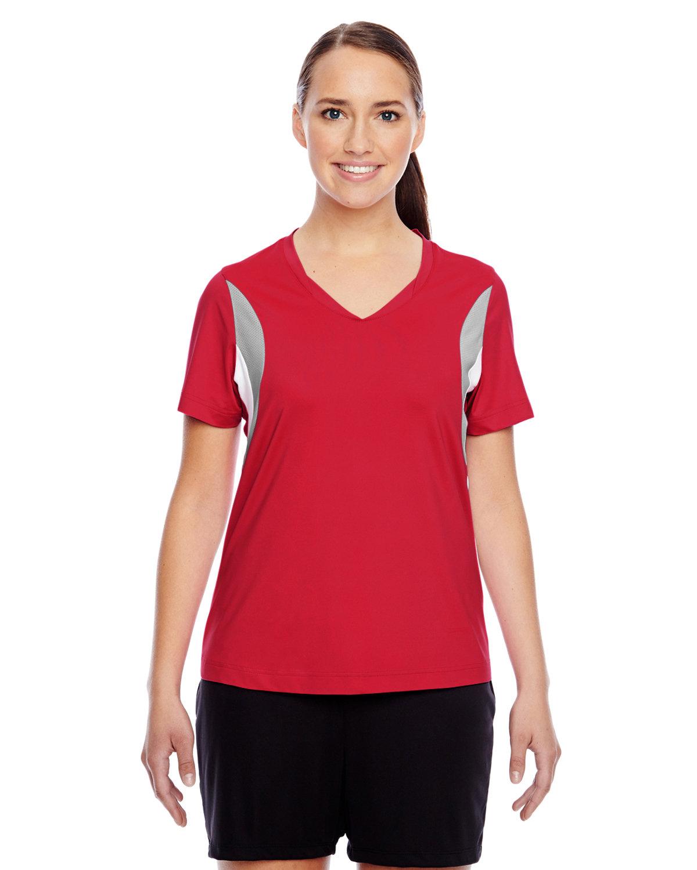 Team 365 Ladies' Short-Sleeve Athletic V-Neck Tournament Jersey SP RED/ SP SILVR