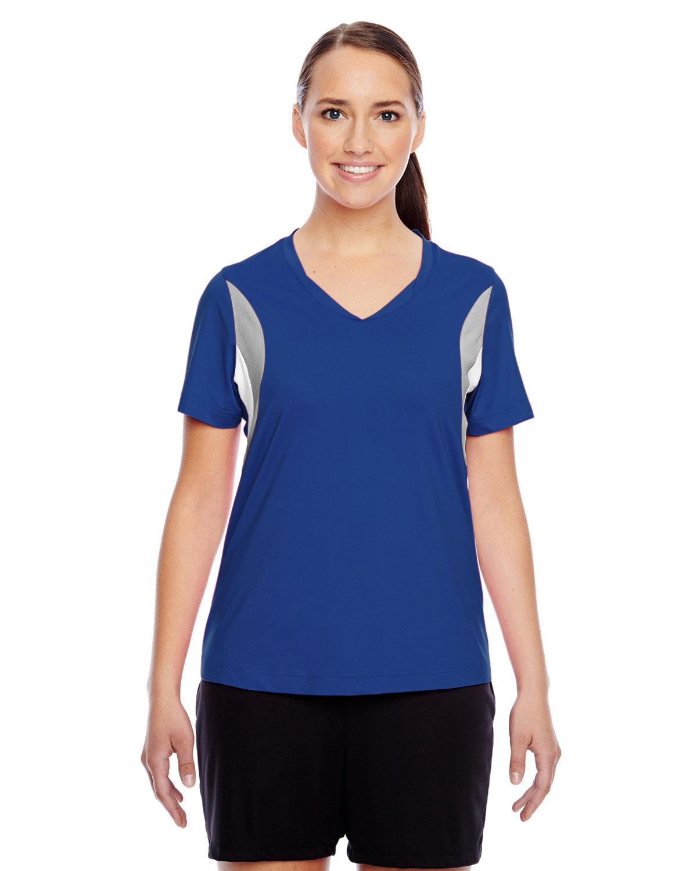 Team 365 Ladies' Short-Sleeve Athletic V-Neck Tournament Jersey SP ROYAL/ SP SIL