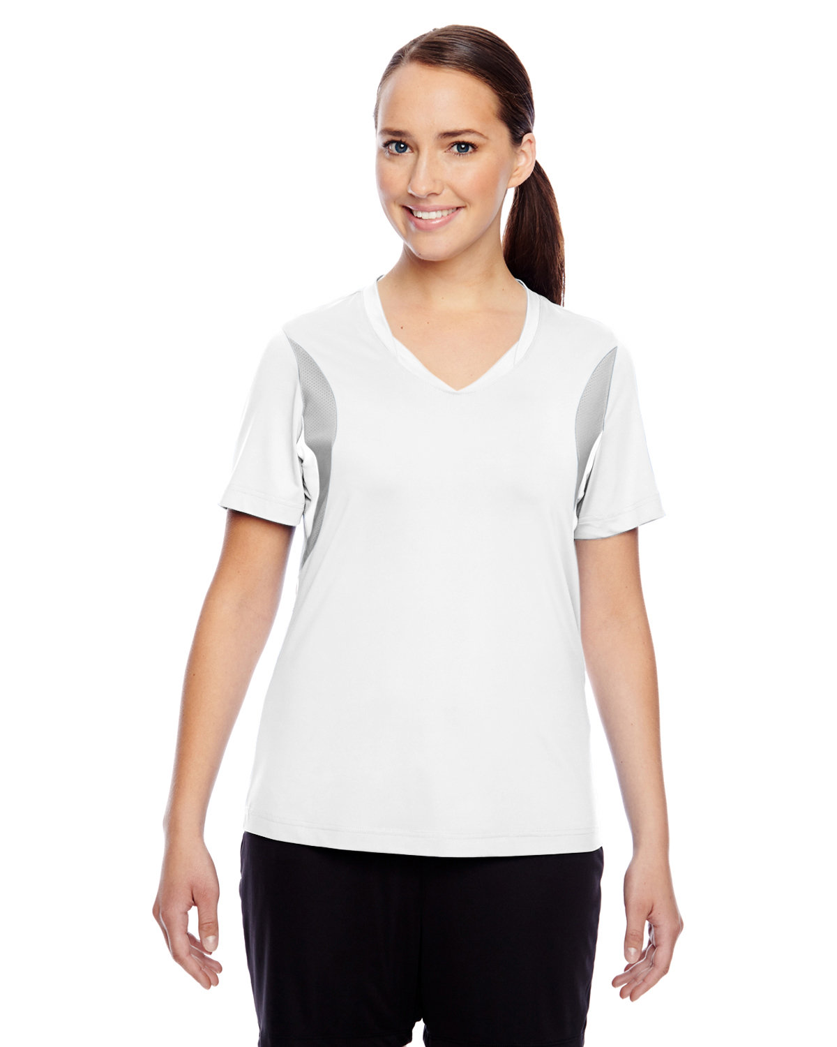 Team 365 Ladies' Short-Sleeve Athletic V-Neck Tournament Jersey WHITE/ SP SILVER