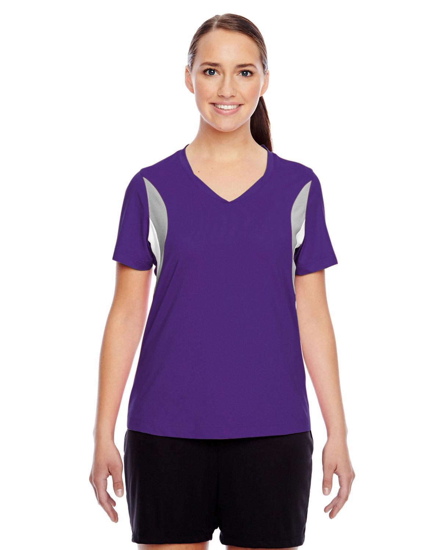 Team 365 Ladies' Short-Sleeve Athletic V-Neck Tournament Jersey SP PURPLE/ SP SL