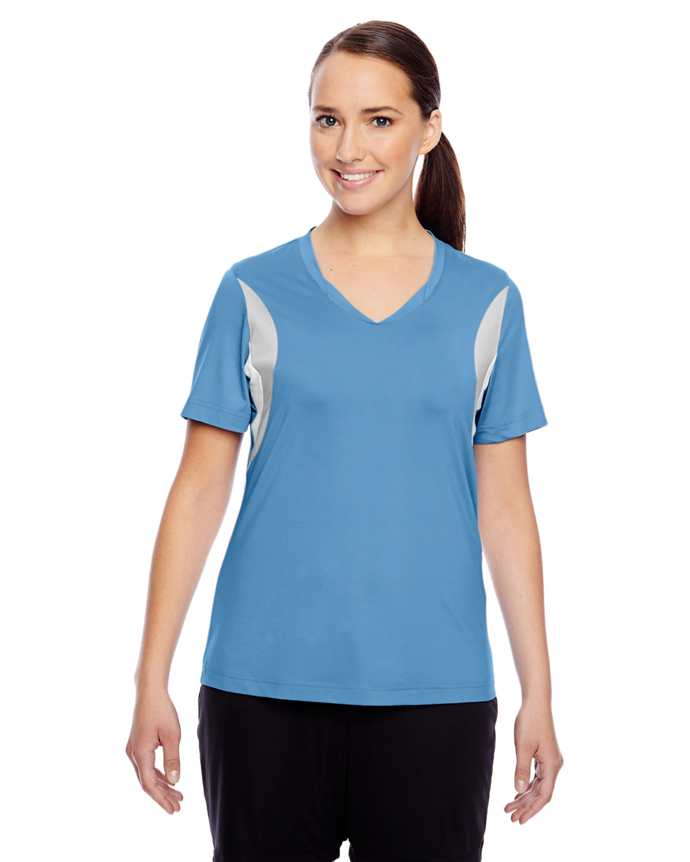 Team 365 Ladies' Short-Sleeve Athletic V-Neck Tournament Jersey SP LT BL/ SP SIL