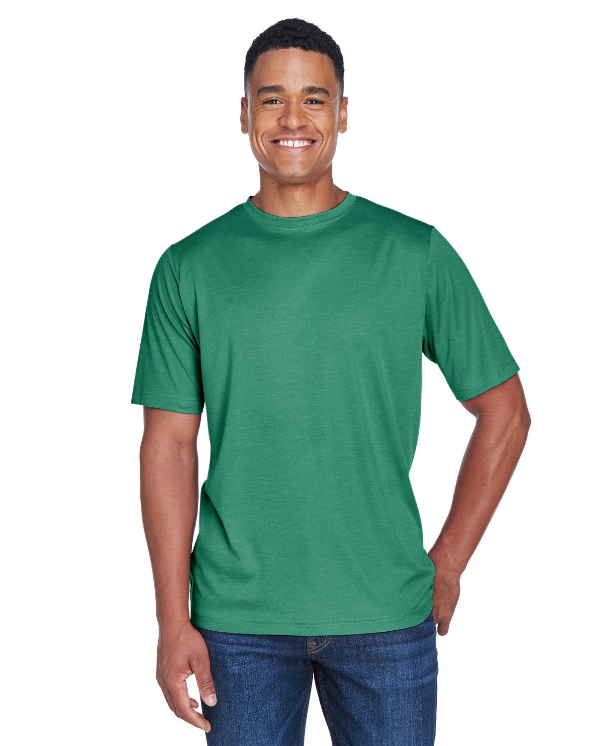 Team 365 Men's Sonic Heather Performance T-Shirt SP FOREST HTHR