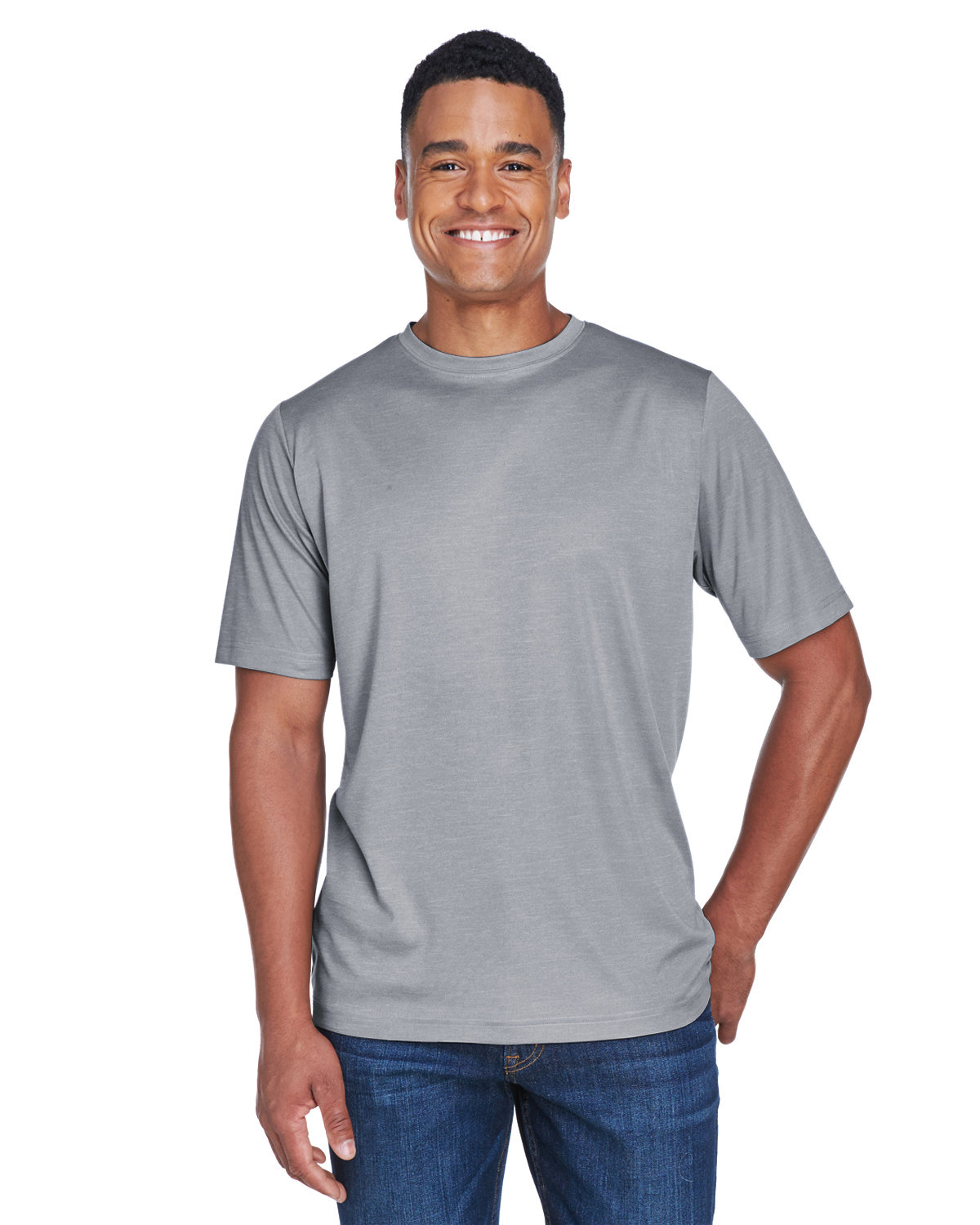 Team 365 Men's Sonic Heather Performance T-Shirt ATHLETIC HEATHER