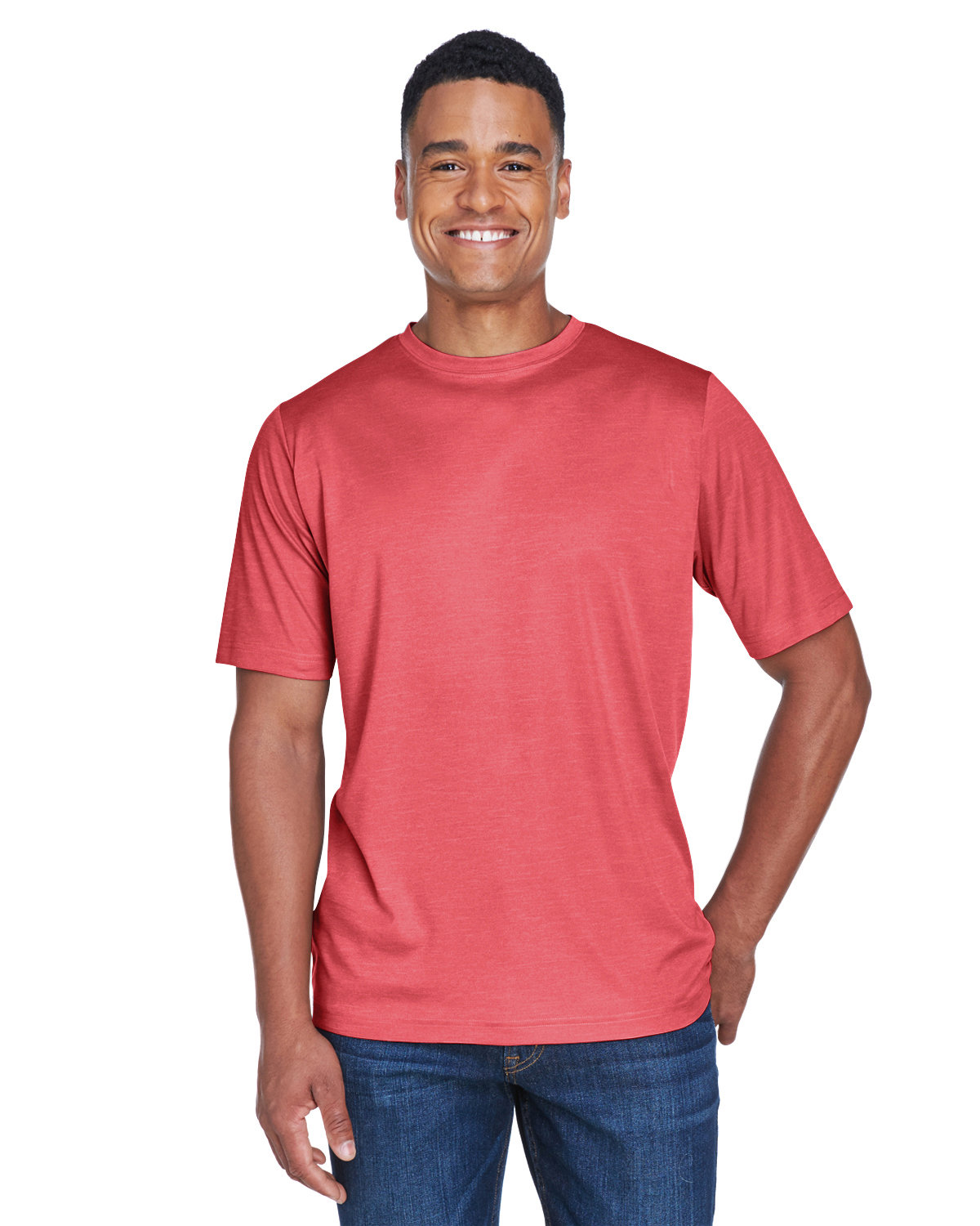 Team 365 Men's Sonic Heather Performance T-Shirt SP RED HEATHER