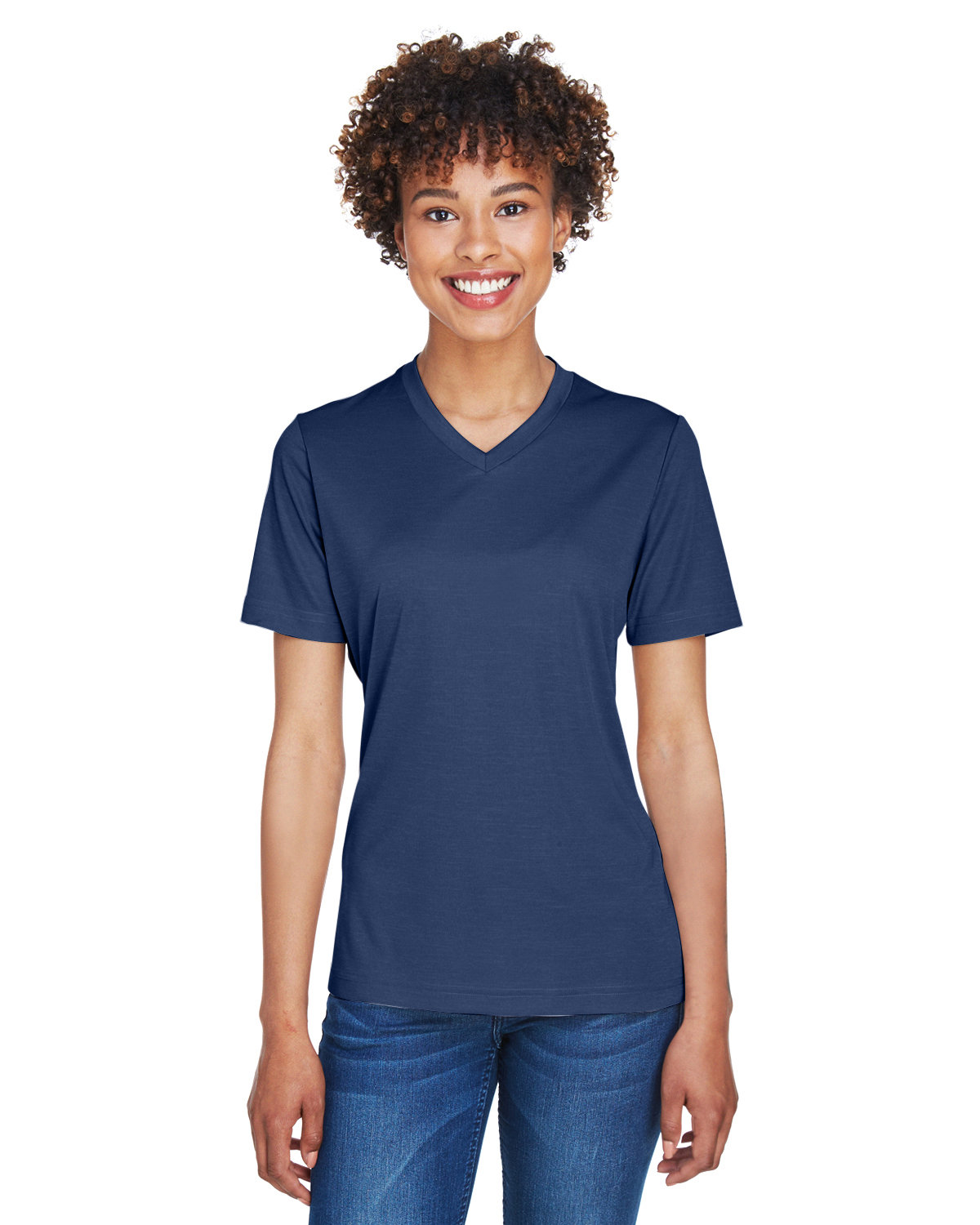 Team 365 Ladies' Sonic Heather Performance T-Shirt SP DRK NVY HTH