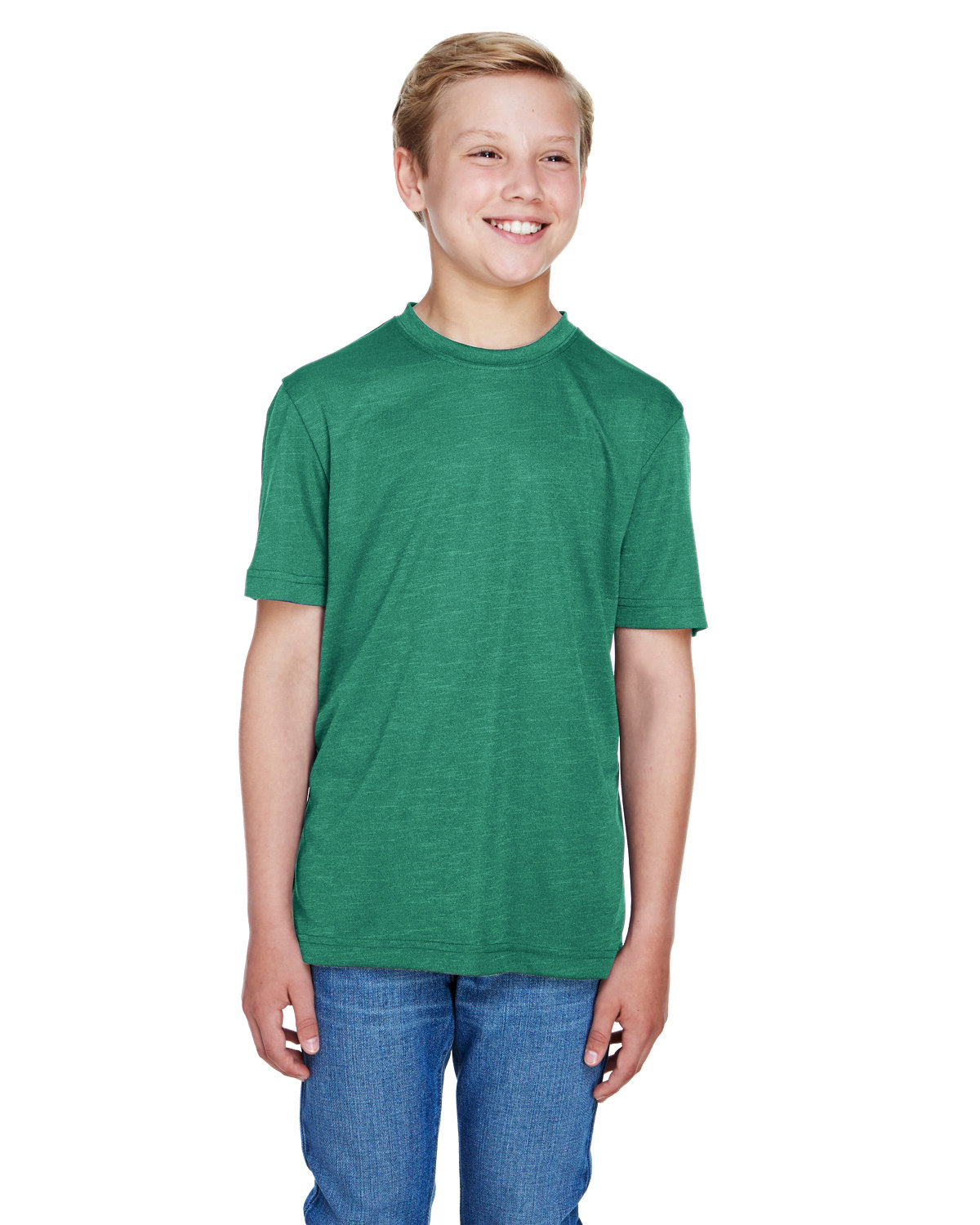 Team 365 Youth Sonic Heather Performance T-Shirt SP FOREST HTHR